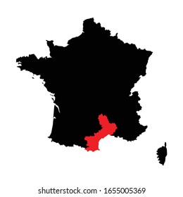 Languedoc Roussillon Region highlighted on France map Vector EPS 10