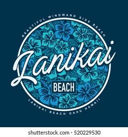 Lanikai surf beach typography, t-shirt graphics, vectors