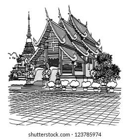 Lanna Temple sketchbook : vector illustration.