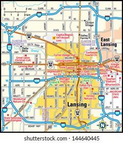 Lansing, Michigan Map Images, Stock Photos & Vectors ...