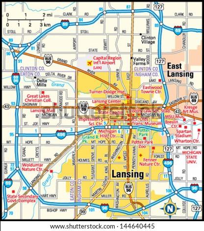 Lansing Michigan Area Map Stock Vector (Royalty Free) 144640445 ...
