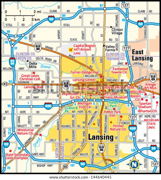 Lansing Michigan Area Map Stock Vector (Royalty Free) 144640445