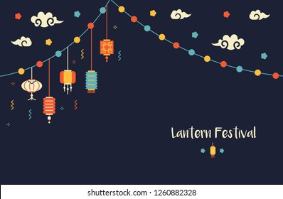 Lantern festival illustration with a place for the text. Sale and advertisement poster.Happy mid-autumn festival.