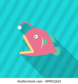 Lantern fish icon, Vector flat long shadow design. EPS10