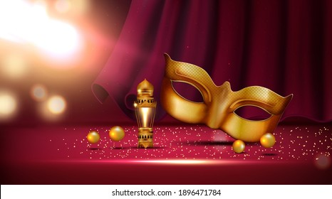 lantern and golden mask at mardi gras parade banner rose and feather near colombina mask