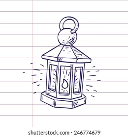 Lantern. Hand drawn doodle style, isolated vector art illustration icon.