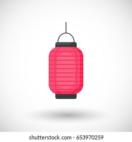 Lantern icon, Flat design of Chinese or Japanese red lantern with round shadow, Vector illustration
