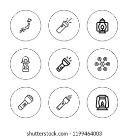 Lantern icon set. collection of 9 outline lantern icons with chandelier, flashlight, japan icons. editable icons.