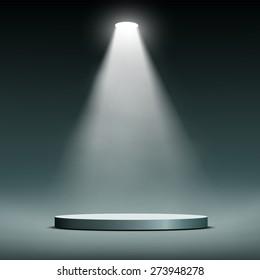 Lantern illuminates round scene. Vector image.