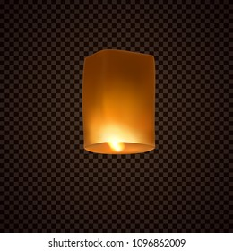Lantern isolated on transparent background. Happy Diwali festival decoration element. Night sky floating indian lamp. Symbol victory of light. Vector paper flying glow light for advertising design.