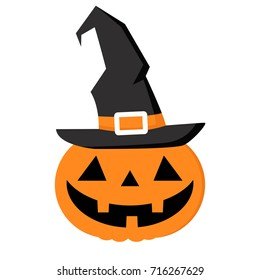 jack'o lantern Pumpkin halloween witch character isolated with white background