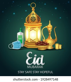 Lantern, sanitizer, mask, tea pot and dates palm fruit put on golden tray. protect corona or covid-19 virus for the Muslim feast of the holy month of Ramadan Kareem or Eid Mubarak Design Background.