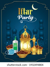 Lantern, sanitizer, mask, tea pot and dates palm fruit put on golden tray. protect corona or covid-19 virus for the Muslim feast of the holy month of Ramadan Kareem or Eid Mubarak, iftar party