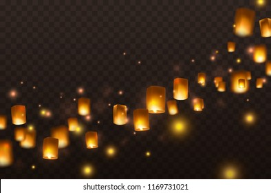 Lanterns isolated on transparent background. Diwali festival floating lamps. Vector indian paper flying lantern lights with flame at night sky.