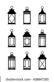 Lanterns silhouettes. Print. Lantern Wedding. Set of lanterns on a white background. Vector Illustration.