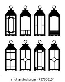 Lanterns silhouettes. Print. Lantern Wedding. Set of lanterns on a white background. Vector Illustration.
