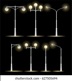 Lanterns Street Set on a Night Background Lamps Lighting of Roads and Streets City. Vector illustration
