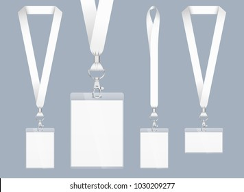 Lanyard design, realistic illustration. Identification card with ribbon. Metal closure and card with plastic. Accreditation for events, meetings, fairs, congresses and companies. Vector. Isolated.
