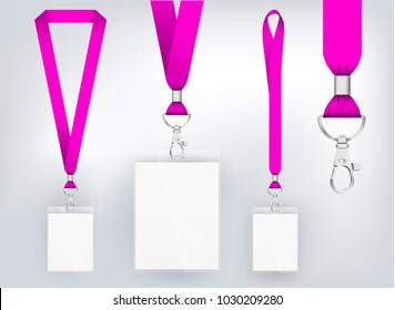 Lanyard design, realistic illustration. Identification card wit ribbon. Metal closure and card with plastic. Accreditation for events, meetings, fairs, congresses and companies. Vector. Isolated.