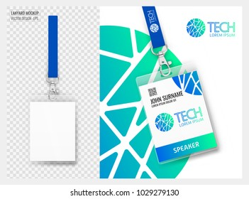 Lanyard design with transparent background. Example of colorful design for online portfolio or customer presentation. Lanyard for brand identity. Vector isolated