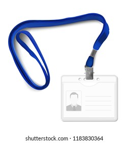 Lanyard with id card. Vector illustration isolated on white background. Ready mockup to use for for presentations, conferences and other business situations. EPS10.