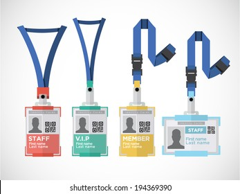Lanyard, name tag holder end badge templates - vector illustration