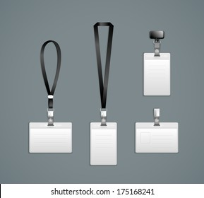 Lanyard, retractor end badge templates Vector Illustration