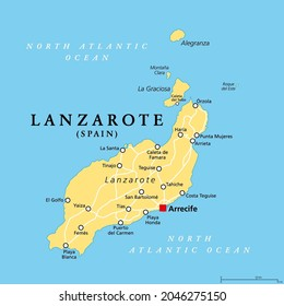Lanzarote, political map, with capital Arrecife. Northernmost and easternmost island of Canary Islands, an archipelago and autonomous community of Spain, in the Atlantic Ocean off the coast of Africa.