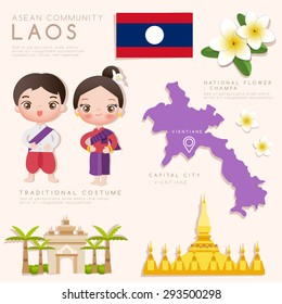 Laos : Asean Economic Community (AEC) Infographic with Traditional Costume, National Flower and Tourist Attractions : Vector Illustration EPS10