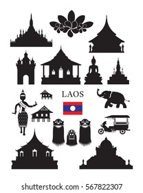 Laos Landmarks and Culture Object Set, Design Elements, Black and White, Silhouette