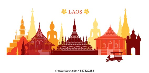 Laos Landmarks Skyline, Colorful, Cityscape, Travel and Tourist Attraction