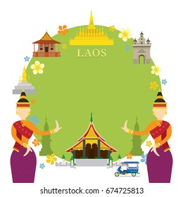 Laos Landmarks, Traditional Dance, Frame, Culture, Travel and Tourist Attraction