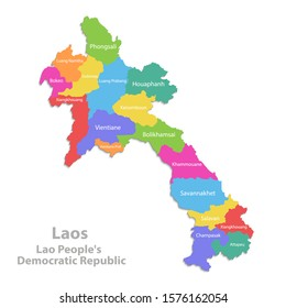 Laos map, administrative division, separate individual states with state names, color map isolated on white background vector