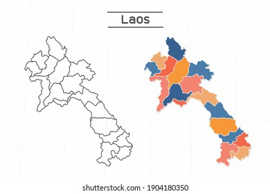 Laos map city vector divided by colorful outline simplicity style. Have 2 versions, black thin line version and colorful version. Both map were on the white background.