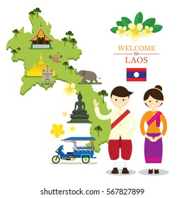 Laos Map and Landmarks with People in Traditional Clothing, Culture, Travel and Tourist Attraction