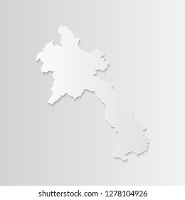 Laos map paper with shadow isolated on a white background. 3D vector illustration. - Vector