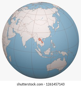 Laos on the globe. Earth hemisphere centered at the location of the Lao People's Democratic Republic. Muang Lao map.