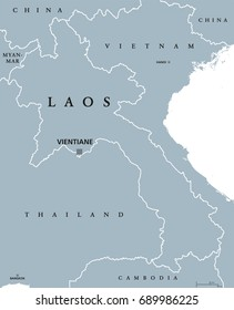 Laos political map with capital Vientiane and borders. English labeling. The Lao Peoples Democratic Republic, colloquial name Muang Lao. Landlocked country in Southeast Asia. Gray illustration. Vector