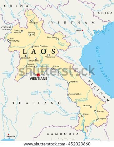 Laos Political Map Capital Vientiane National Stock Vector (Royalty ...