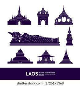 laos travel destination grand vector illustration.
