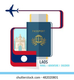 Laos Travel, Discover, Adventure - Most Famous Landmark in country - airplane logo - Country Flag - Passport and Boarding pass - in flat style.