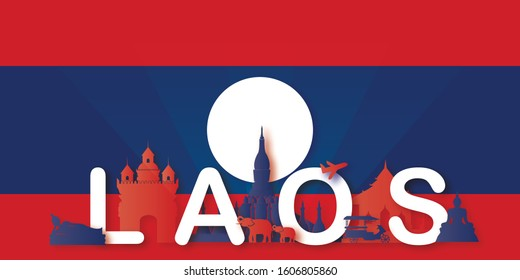 Laos Travel postcard, poster, tour advertising of world famous landmarks in paper cut style. Vectors illustrations
