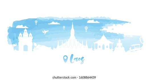 Laos Travel postcard, poster, tour advertising of world famous landmarks in water color style. Vectors illustrations