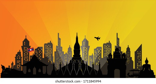 Laos Travel postcard, poster, tour advertising of world famous landmarks in silhouette style. Vectors illustrations
