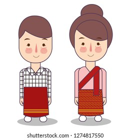 Laos wedding Couple, cute Indonesian traditional clothes costume bride and groom cartoon vector illustration flat