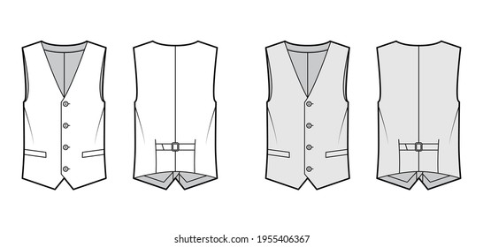 Lapelled vest waistcoat technical fashion illustration with sleeveless, notched shawl collar, button-up closure, pockets. Flat template front, back, white, grey color style. Women, men top CAD mockup