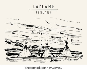Lapland, Finland. Natural tundra landscape with traditional lavvu tents in wilderness. Temporary dwellings used by the Sami people of Scandinavia similar to American tipi. Hand drawn postcard. Vector