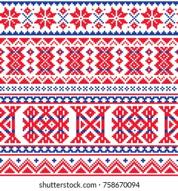 Lapland, Sami people vector seamless pattern, Scandinavian, Nordic folk art in red and blue Retro traditional belt patterns from Norway, Sweden, Finland, and the Murmansk Oblast of Russia
