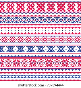 Lapland traditional folk art design, Sami vector seamless pattern, Scandinavian, Nordic background  Retro winter belt patterns from Norway, Sweden, Finland, and the Murmansk Oblast of Russia