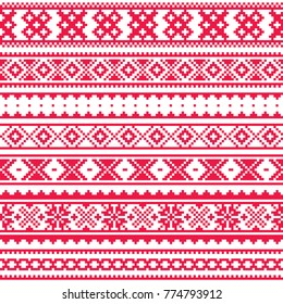 Lapland traditional red folk art design, Sami vector seamless pattern, Scandinavian, Nordic background.  Retro winter belt patterns from Norway, Sweden, Finland, and the Murmansk Oblast of Russia